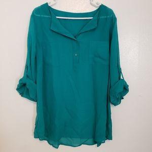 Maurices emerald green sheer tunic top tab sleeve